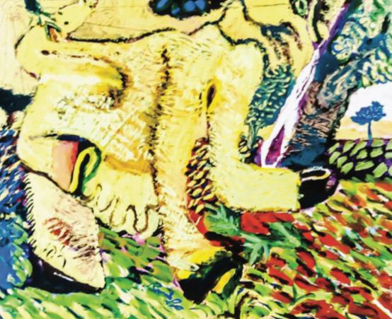 Vaca asoleándose. Acrílico sobre tabla. 20 x 25 cm, 2003.