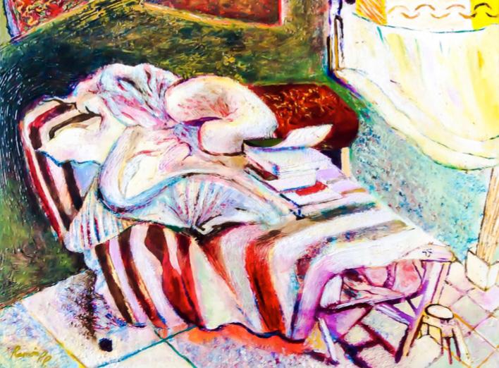 La cama de la masajista. Acrílico sobre lienzo. 30 x 40 cm, 2004.