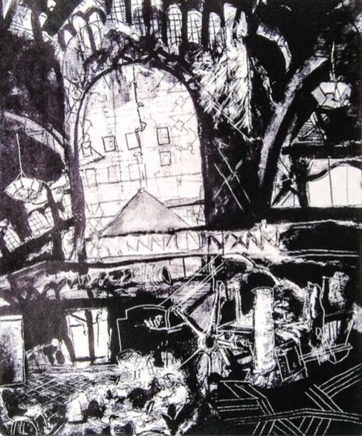 El Chopo. Litografía. 49 x 39 cm, 2001.