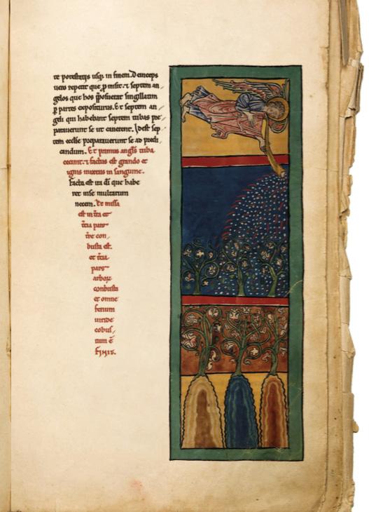 Hoja de un manuscrito de Beato,  Primer Ángel toca la trompeta;  fuego, granizo piedras y la sangre  son lanzados sobre la tierra, s. XII.