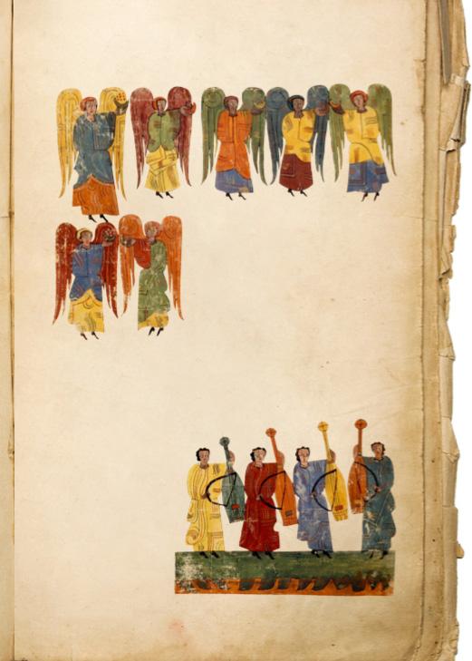 Hoja de un manuscrito de Beato, el Ángel de la Iglesia de Sardis con San Juan, s. XII.