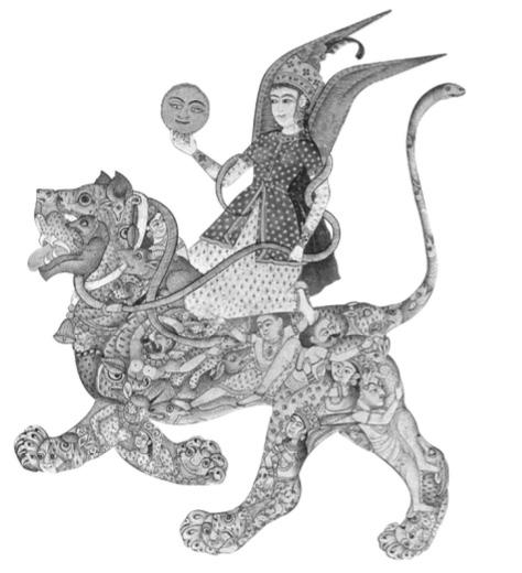 El león cósmico, miniatura, India, s. XVII.
