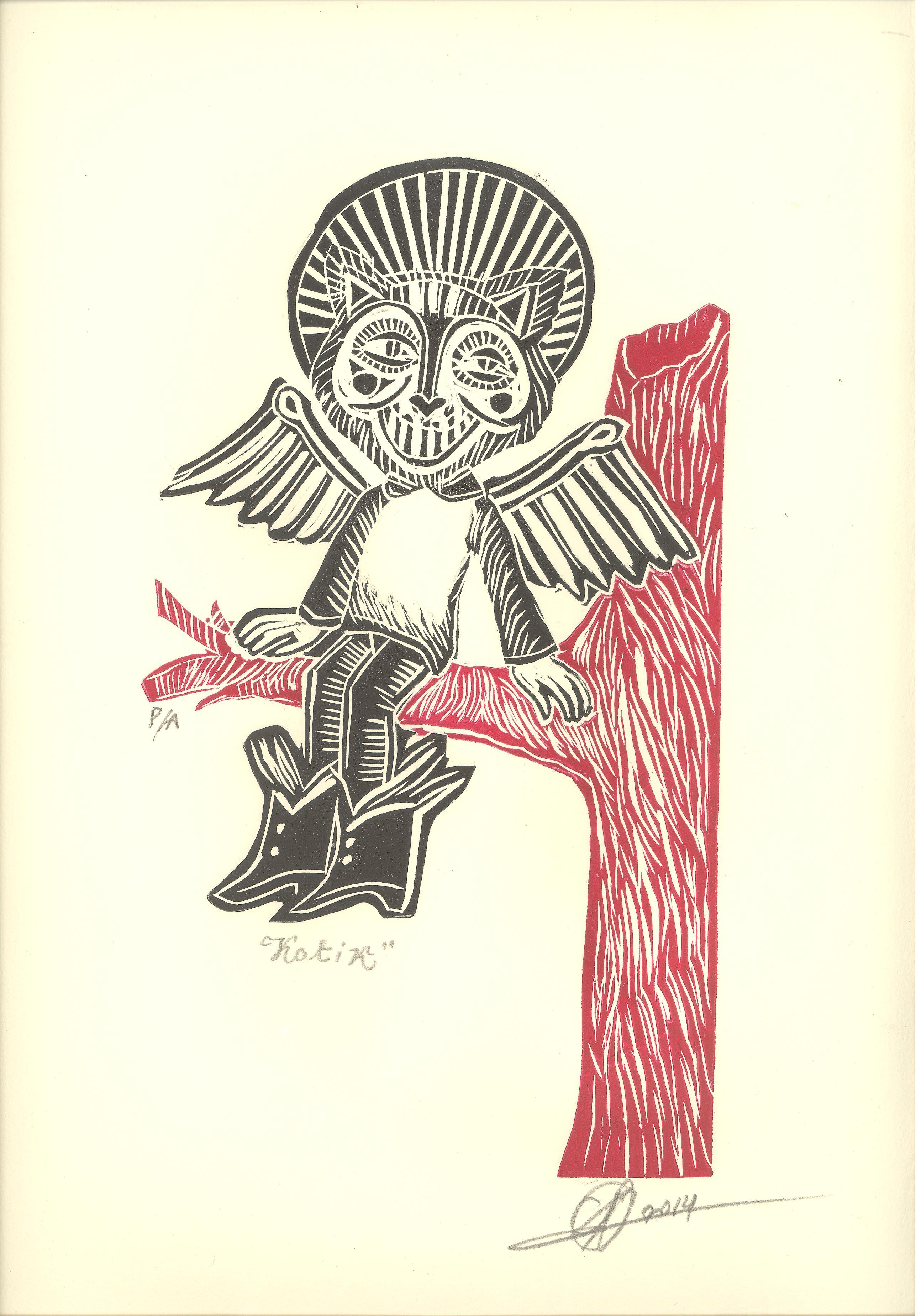 Barreto, Koltik, Linóleo a dos tintas, 2013.