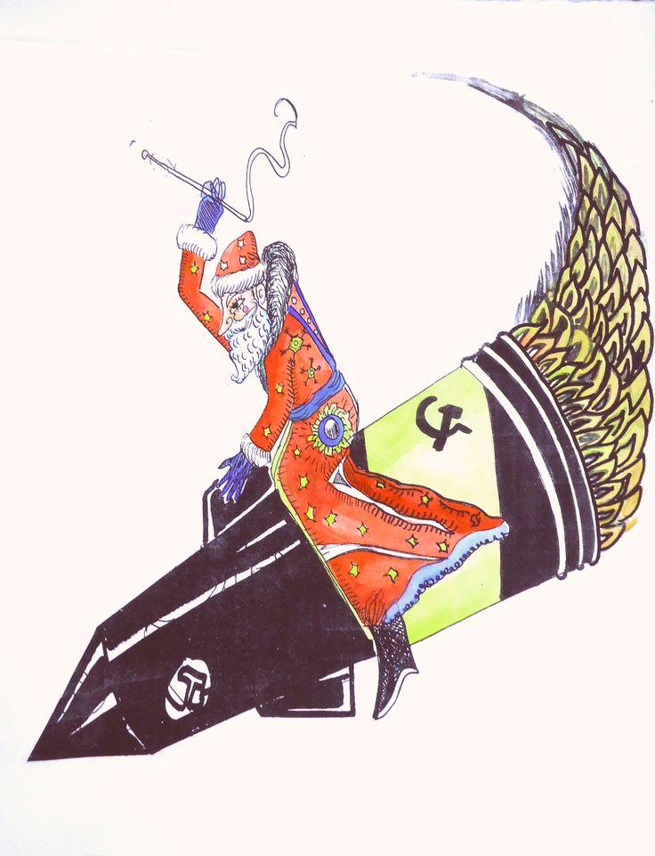 Barreto, El Ded moroz, el Santa Claus soviético, Siligrafía a color, 2012.