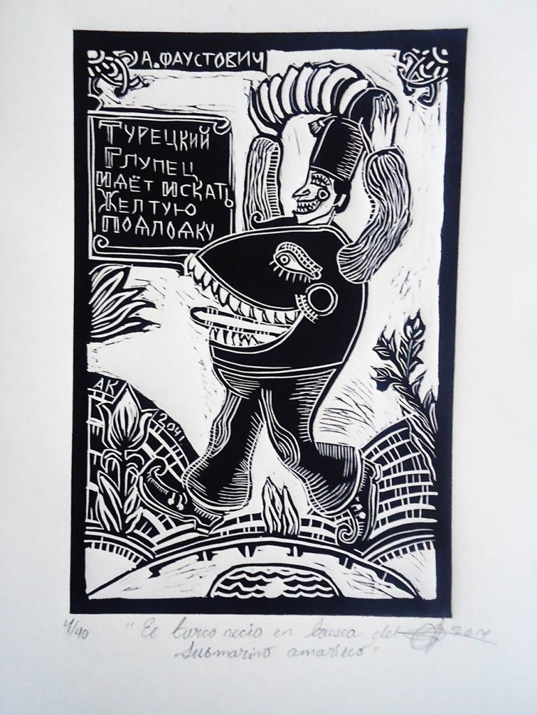 Barreto, El turco necio, Linografía, 2014.