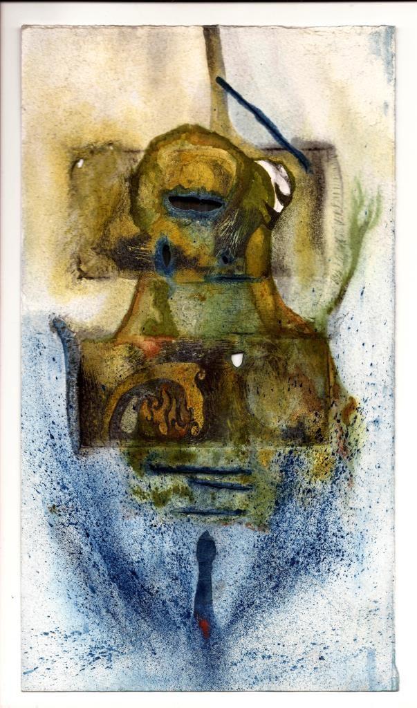Salvador Solís Castro, Eros, aguafuerte, aguatinta y acuarela sobre papel, 27cm x 16cm.