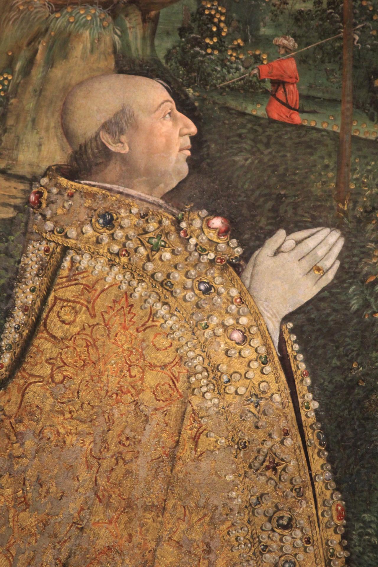 Pinturicchio, Resurrezione di Cristo, detalle Alejandro VI.
